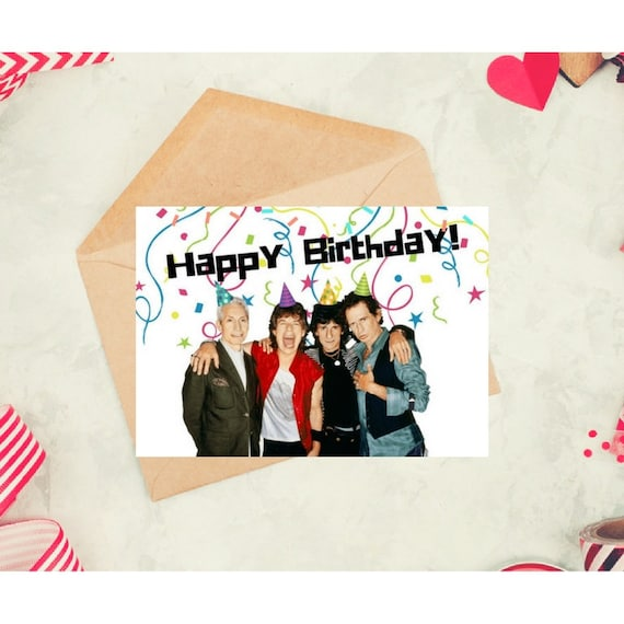 The Rolling Stones Birthday Card Printable Celebrity Card Etsy