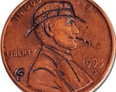 Hobo Nickel Coin 1993 Liberty Smoke Original Hand Engraved by Pines Chuck