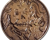 Hobo Nickel Coin 2017 Liberty Zombie Original Hand Engraved by Pines Chuck