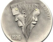 Hobo Nickel Coin 1936 Buffalo quot Lovers quot 24k Gold Hand Engraved Gediminas Palsis