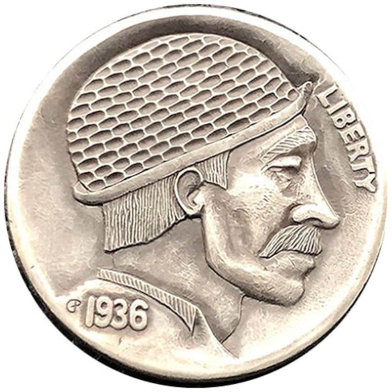 Hobo Nickel Coin Buffalo Genuine Hand Carved Engraved by Gediminas Palsis