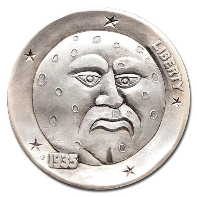 Hobo Nickel Coin 1935 Buffalo Mourning Moon Hand Engraved By Gediminas  Palsis