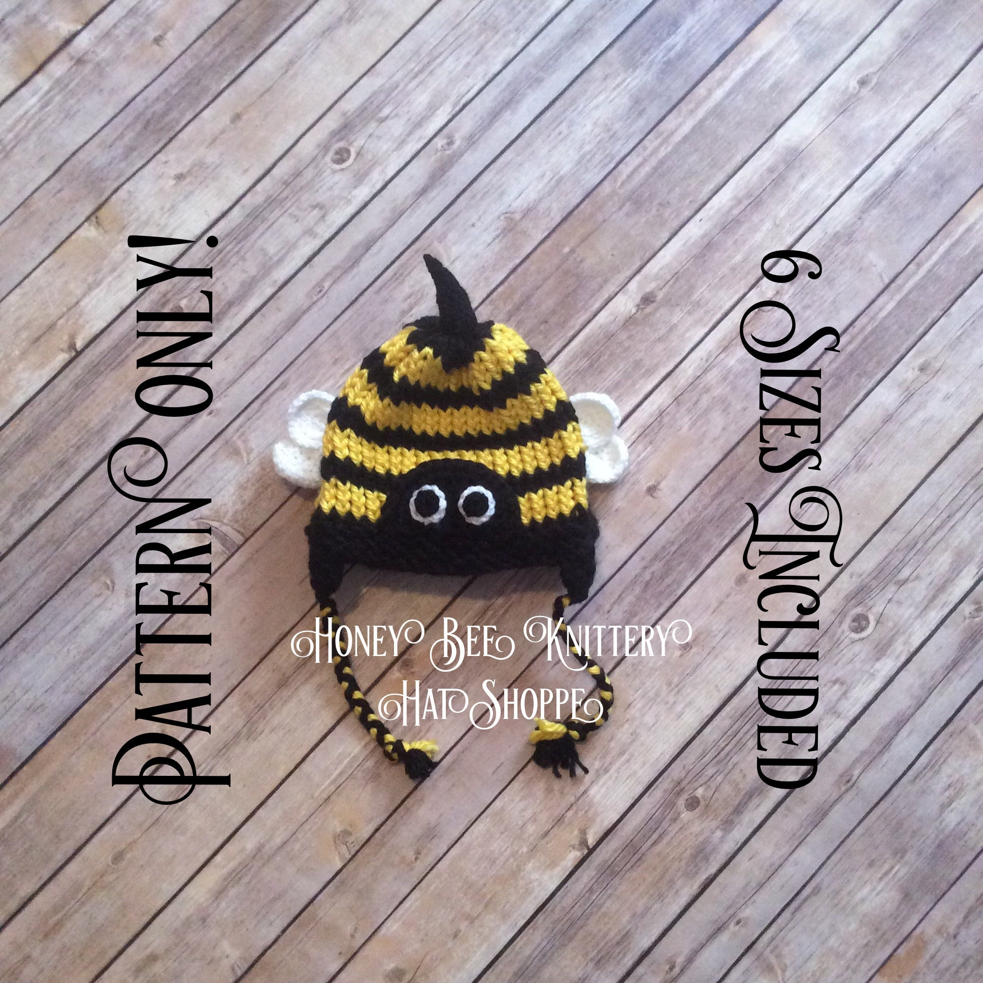 Honey Bee Hat Pattern Only 6 Sizes Included Beehive Bug Etsy