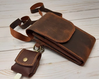 Leather Cross Body Phone Bag, Minimalist Card Holder And Air Pods Case Gift Set In Crazy Camel Or Brown, Handmade Leather Unisex Gift Set