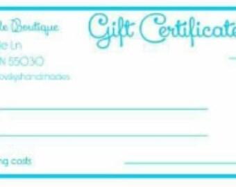 Gift Certificate, wax melt gift certificate, gift idea, wax melts, handmade gifts