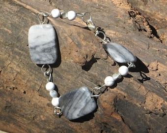 Marble and snakeskin jasper bracelet