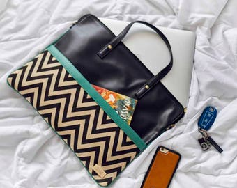 Classic Edge Sleeve, Laptop Sleeve 14-16, Canvas, Handmade Bags, Vegan Leather, Vegan Bags
