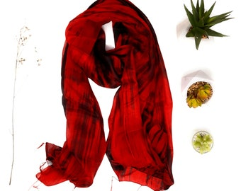 100% Silk Scarf - Hand painted in Red and Black