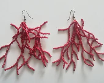 Lovely earrings beaded coral shape