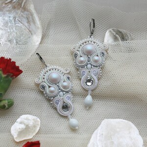basic stud earrings with howlite stone everyday white soutache earrings small bridal earrings unique jewelry for bridesmaid