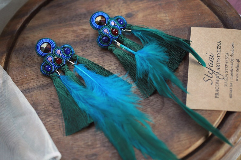artist gift forest green fringe earrings with purple crystal statement jewelry for bold women long peacock feather earrings with tassel