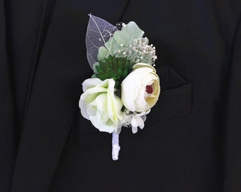 518836e87fd Rustic Ivory Rose Flower Boutonniere, Mens Boutineer wedding accessories,  Groom Lapel Pin, Babys breath corsage, Groomsmen Dried floral Gift
