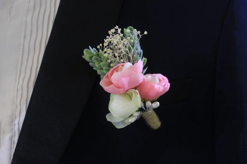 Rustic Pink Ivory Rose Flower Boutonniere Groomsmen Dried babys breath Gift Mens Boutineer wedding accessories Groom Lapel Pin Corsage