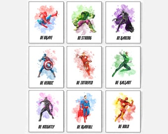 Superheroes Print, Superman Print, Batman Print, Hulk Print, Spiderman  Print, Superhero Watercolor, Superhero Wall Decor, Superhero Party