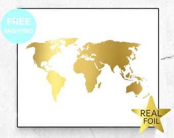 Gold world map etsy gold map art foil map world map print gold decor map wall decor office decor gold gift continents print modern decor geography art gumiabroncs Gallery