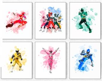 Power Rangers Watercolor Print Art Party Superhero Wall Decor Kids Room Nursery Printable Digital Download