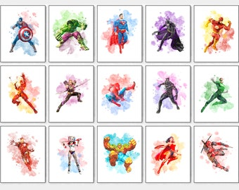Charming Superheroes Print, Superman Print, Batman Print, Hulk Print, Spiderman  Print, Superhero Watercolor, Superhero Wall Decor, Superhero Party