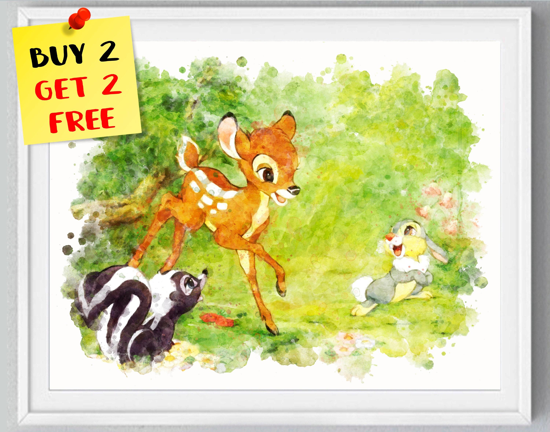 Bambi Print Bambi Watercolor Art Nursery Decor Bambi Poster | Etsy