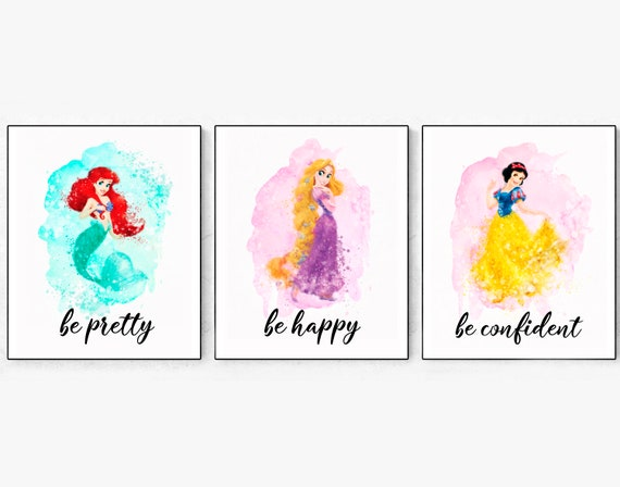 Princesses Print Princess Watercolor Ariel Poster Rapunzel