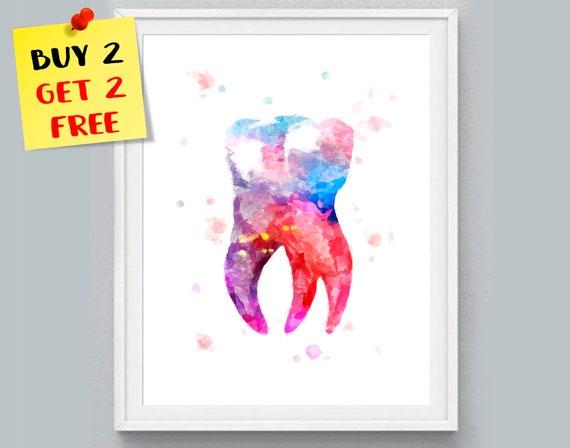 Zahn Aquarell Druck Zahn anatomische Kunst Zahn Zahnarztpraxis | Etsy