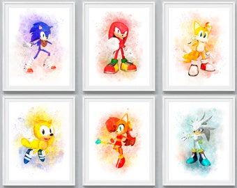 Sonic The Hedgehog Print Sonic Watercolor Sonic Poster Sonic Wall Decor Cartoon Art Movie Poster Sonic Birthday Party Kids Room Decor Gift