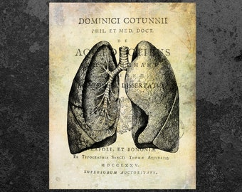 Lungs Print Anatomy Vintage Art Anatomy Book Page Aged Anatomy Poster Scientific Illustration Medical Wall Decor Doctor Gift Clinic Decor