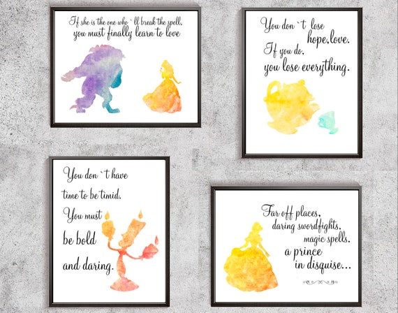 Beauty And The Beast Prints Belle Watercolor Beauty Quotes Etsy