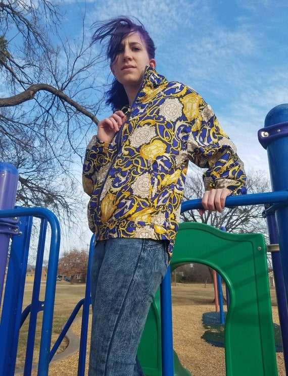 Silk blue and yellow EVR windbreaker