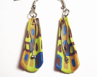 Green / Gold / Burgundy Conical Earrings with Wire Dangles