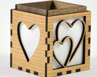 Hearts and Love / Sweetheart Valentines Day Votive / Tea Light Candle Holder, Gift Box, Pencil Holder