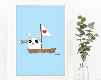 Ahoy Bunny Downloadable Print in Blue. A4 and 8x10 sizes provided.