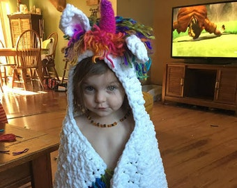 Crochet Unicorn Blanket-Unicorn Hooded Blanket