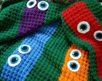 Crochet Ninja Turtles Blanket-Kids Crochet Blanket.