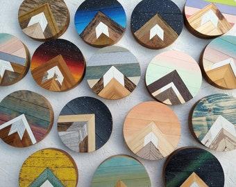 Round mountains - small round design - mini mountains - wood art bohemian decor - shelf decor