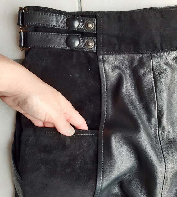 Vintage 80s leather trousers and black suede - image 7