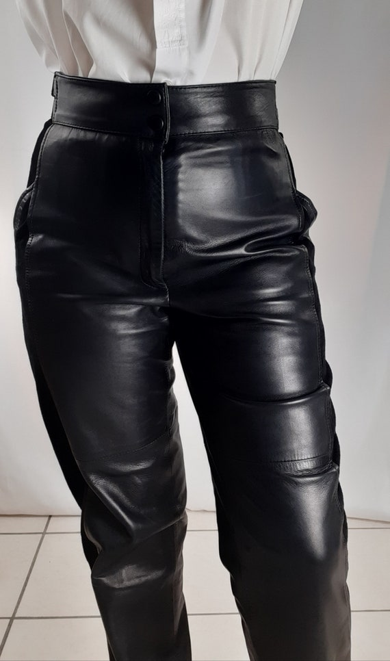 Vintage 80s leather pants and black suede