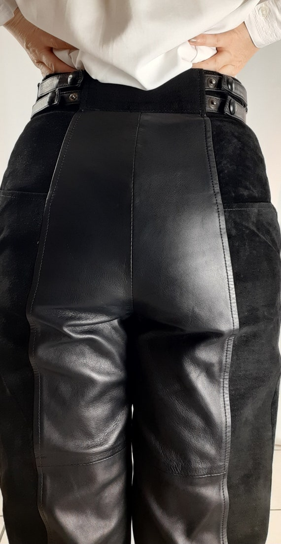 Vintage 80s leather trousers and black suede - image 3