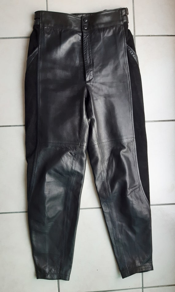 Vintage 80s leather trousers and black suede - image 5