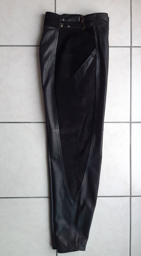 Vintage 80s leather trousers and black suede - image 6