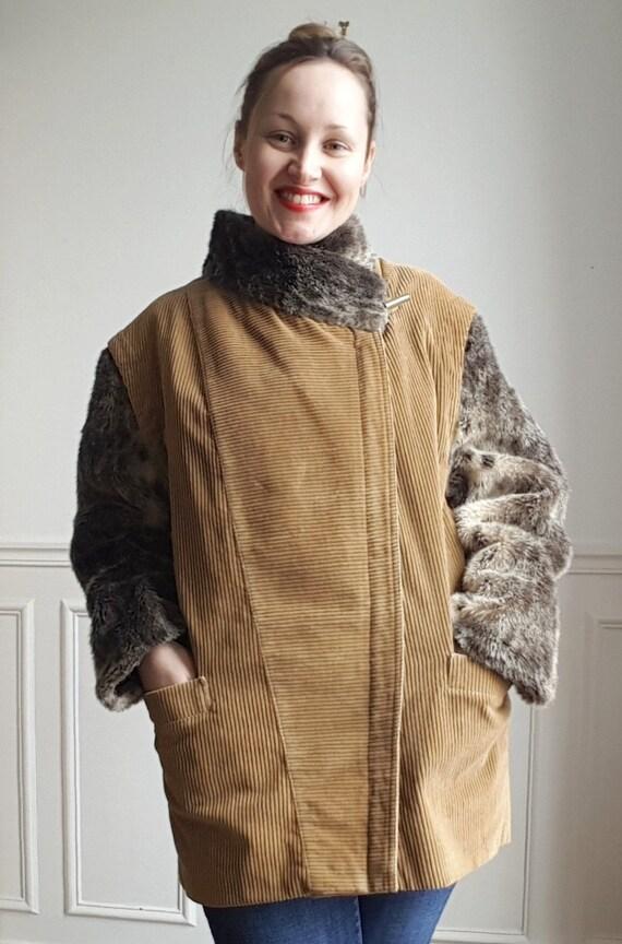Vintage 70s veste en vlours côtelé et fausse fourr