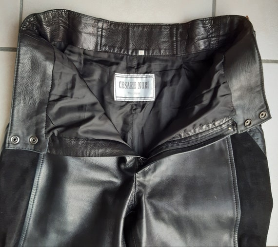 Vintage 80s leather trousers and black suede - image 9