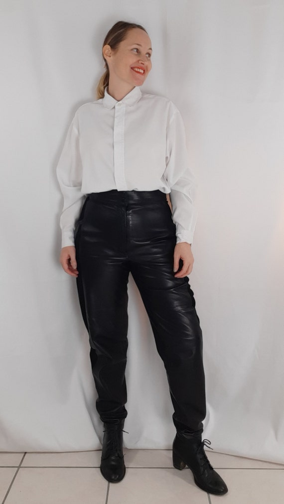 Vintage 80s leather trousers and black suede - image 4