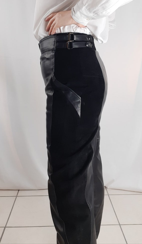 Vintage 80s leather trousers and black suede - image 2