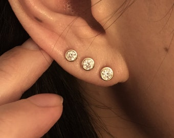 256305b3c 14K Diamond Stud Earrings Baby Tiny Bezel Set Diamond Stud Earrings Real  Solid Gold Natural Genuine Diamond Stud Earrings Tragu Ear Piercing