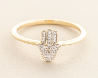 Rhodiumwhite gold bathed Hamsa Ring set with a natural Brazilian Gemstone A beautiful dainty ring with great positive energy.