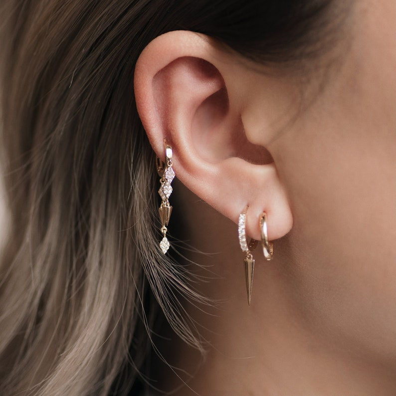 Diamond CZ Cartilage Upper-lobe Helix Tragus Conch Hinge Huggie Hoop Ear Piercing Jewelry 14K REAL Solid Gold Spike Drop Huggie Earring
