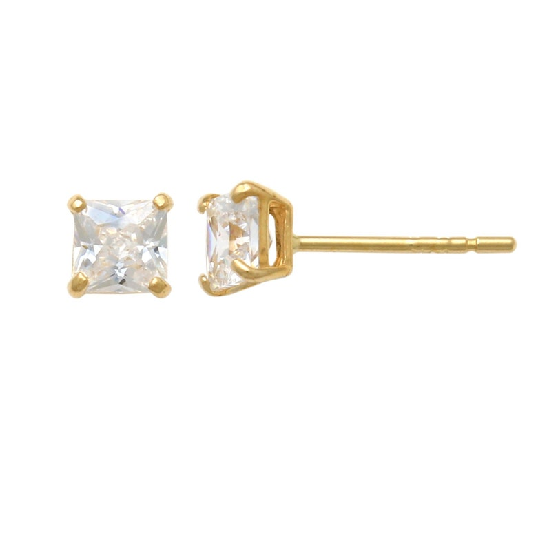 4edffd739fcce 14K Square Swarovski Crystal Stud Earrings In Real Solid Gold Cartilage  Daith Helix Tragus Conch Rook Snug Ear Post Stud Piercing Jewelry