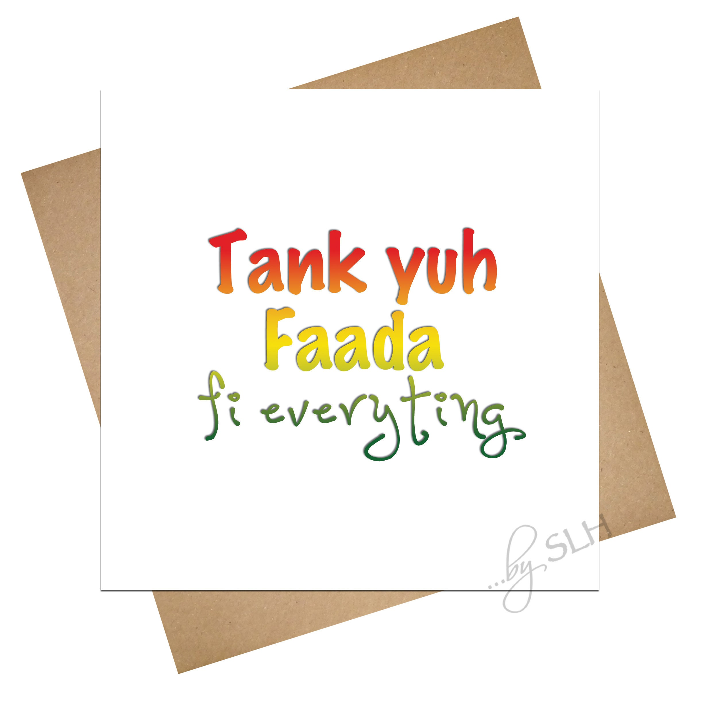 Card For Dad Unique Tank Yuh Faada Patois Patwa Etsy
