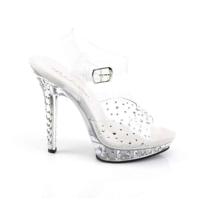 e234d0f6762 Pleaser USA Women's LIP108R/S Platform Ankle Strap Sandal Featuring  Rhinestones 5