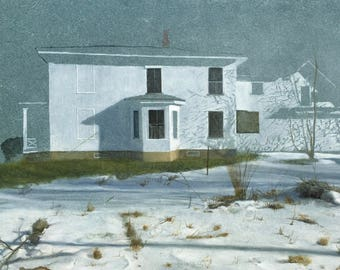 """Giclee archival print of the painting """"Vermont Snow Scene"""" signed by the artist."""